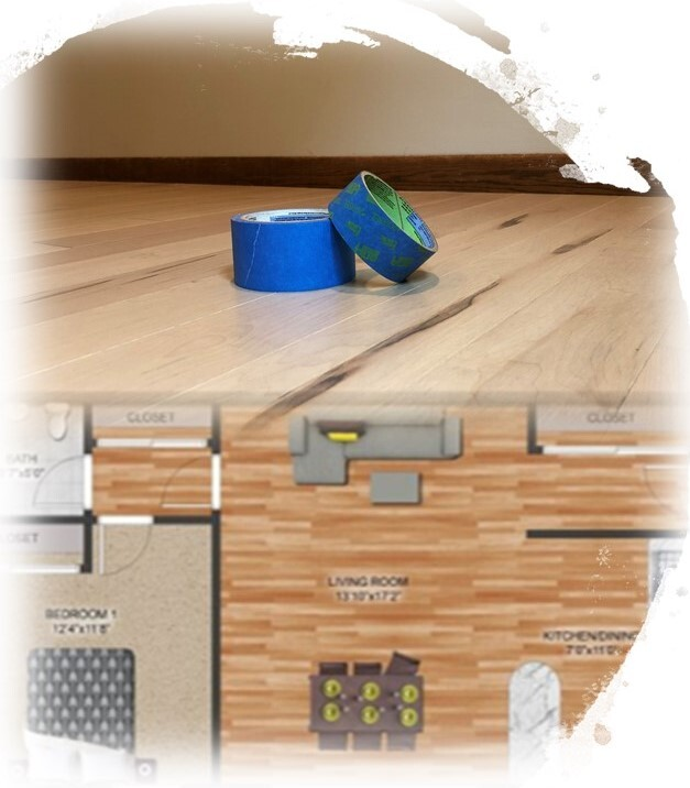 blue tape and floor plan
