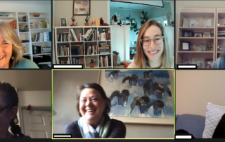 six women laughing in zoom meeting